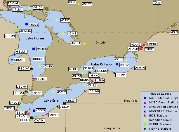 Eastern Great Lakes Marine Weather Buoy Map