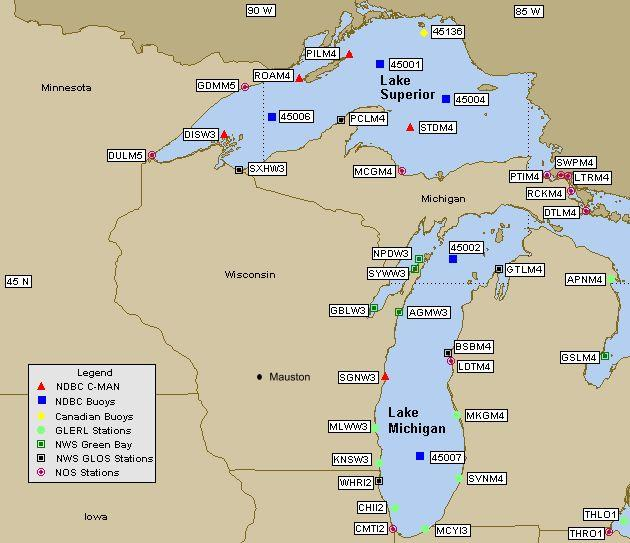 Western Great Lakes Marine Weather Buoy Map